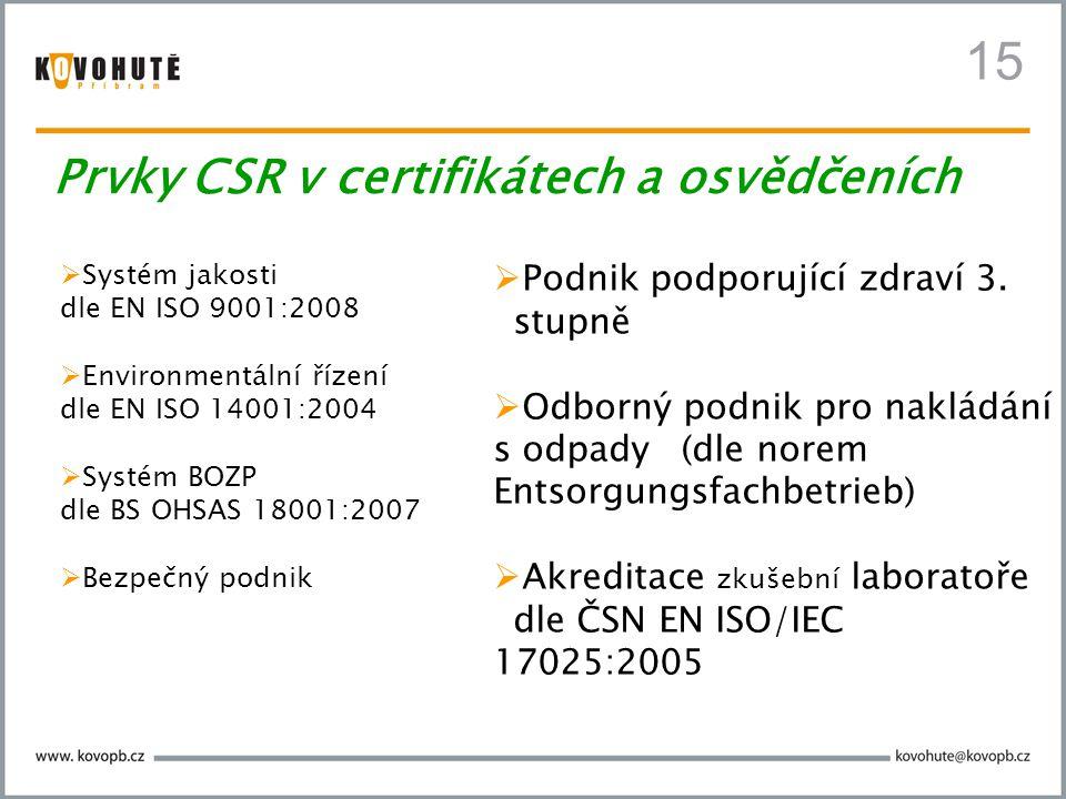  Systém jakosti dle EN ISO 9001:2008  Environmentální řízení dle EN ISO 14001:2004  Systém BOZP dle BS OHSAS 18001:2007  Bezpečný podnik  Podnik podporující zdraví 3.