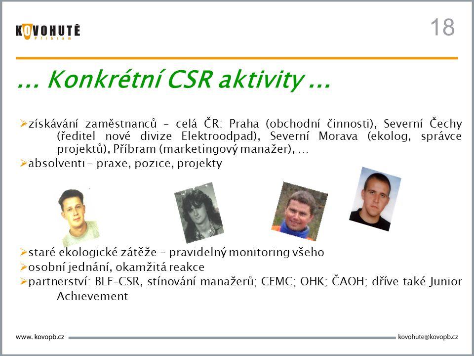 18  získávání zaměstnanců – celá ČR: Praha (obchodní činnosti), Severní Čechy (ředitel nové divize Elektroodpad), Severní Morava (ekolog, správce projektů), Příbram (marketingový manažer), …  absolventi – praxe, pozice, projekty  staré ekologické zátěže – pravidelný monitoring všeho  osobní jednání, okamžitá reakce  partnerství: BLF–CSR, stínování manažerů; CEMC; OHK; ČAOH; dříve také Junior Achievement...