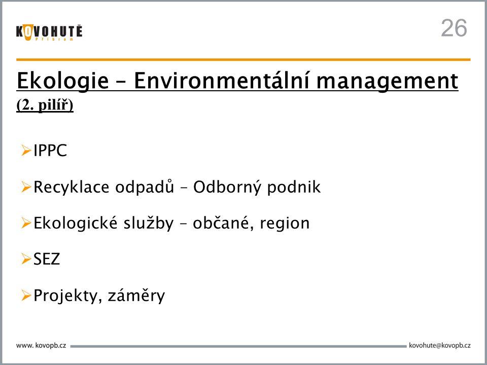 26  IPPC  Recyklace odpadů – Odborný podnik  Ekologické služby – občané, region  SEZ  Projekty, záměry Ekologie – Environmentální management (2.
