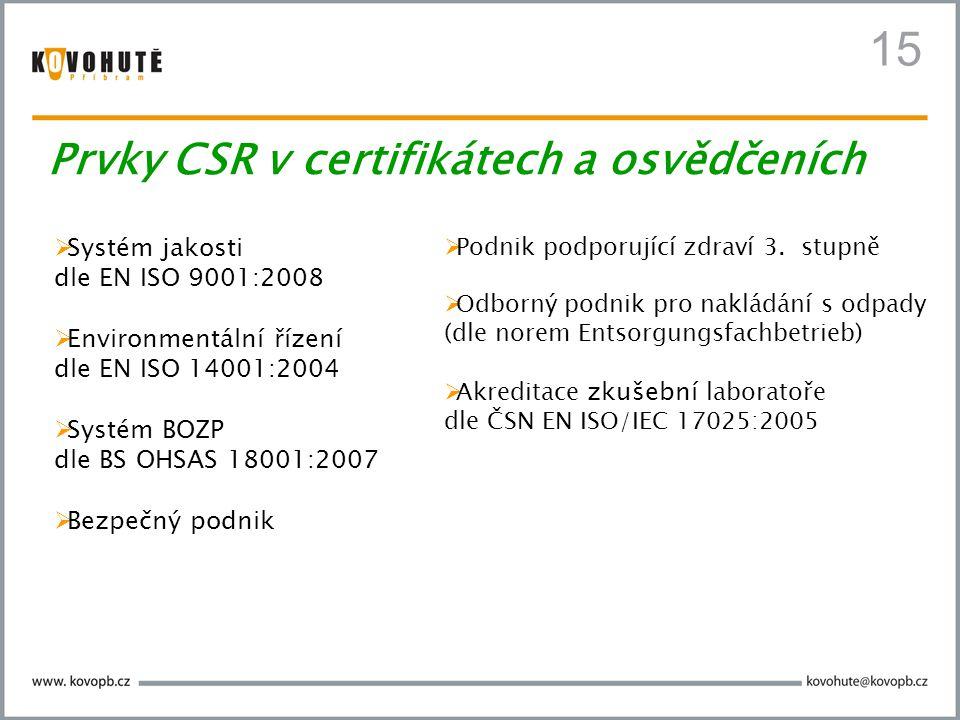  Systém jakosti dle EN ISO 9001:2008  Environmentální řízení dle EN ISO 14001:2004  Systém BOZP dle BS OHSAS 18001:2007  Bezpečný podnik  Podnik
