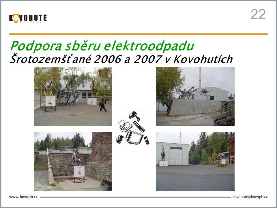 22 Podpora sběru elektroodpadu Šrotozemšťané 2006 a 2007 v Kovohutích