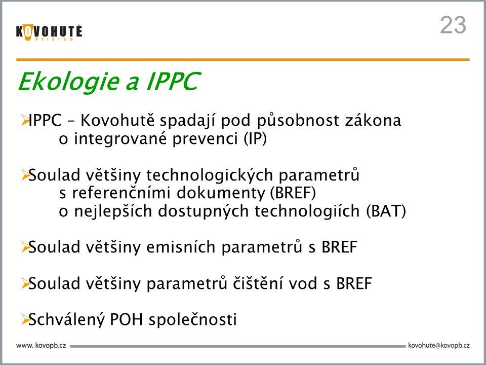 23  IPPC – Kovohutě spadají pod působnost zákona o integrované prevenci (IP)  Soulad většiny technologických parametrů s referenčními dokumenty (BRE