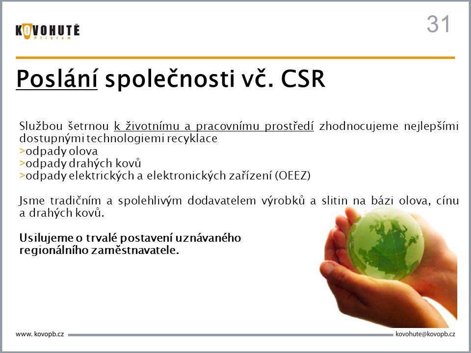 Poslání společnosti vč. CSR Službou šetrnou k životnímu a pracovnímu prostředí zhodnocujeme nejlepšími dostupnými technologiemi recyklace > odpady olo