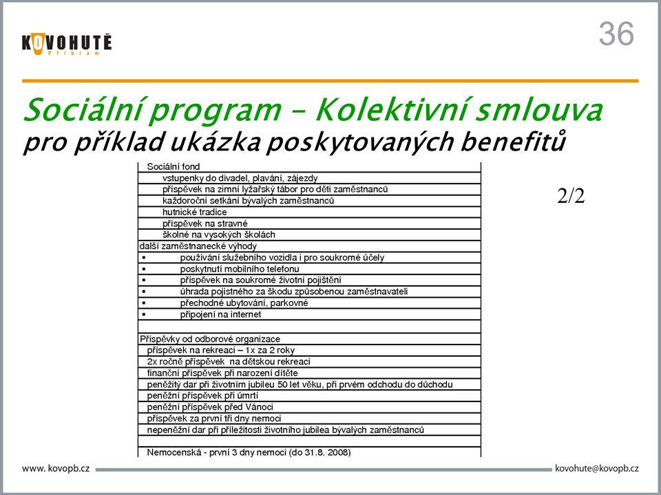 36 Sociální program – Kolektivní smlouva pro příklad ukázka poskytovaných benefitů 2/2
