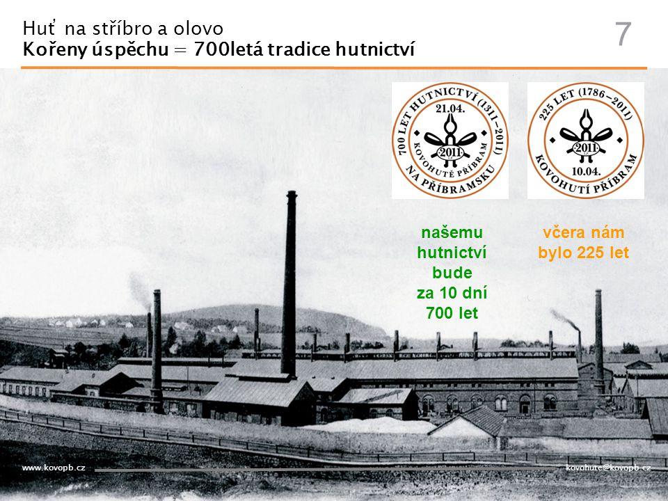 www.kovopb.cz kovohute@kovopb.cz Huť na stříbro a olovo Kořeny úspěchu = 700letá tradice hutnictví 7 včera nám bylo 225 let našemu hutnictví bude za 1