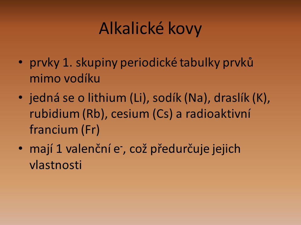 prvky 1. skupiny periodické tabulky prvků mimo vodíku jedná se o lithium (Li), sodík (Na), draslík (K), rubidium (Rb), cesium (Cs) a radioaktivní fran