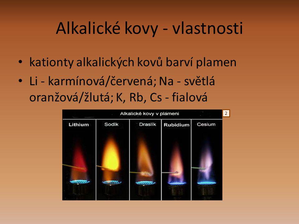 Alkalické kovy - vlastnosti kationty alkalických kovů barví plamen Li - karmínová/červená; Na - světlá oranžová/žlutá; K, Rb, Cs - fialová 2