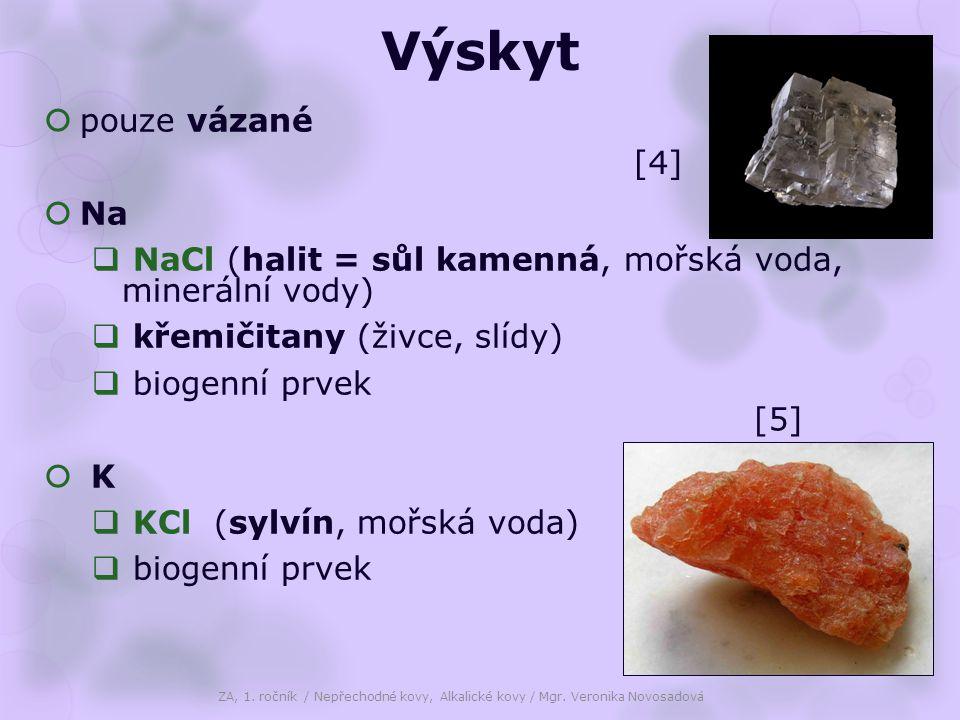 Výskyt  pouze vázané  Na  NaCl (halit = sůl kamenná, mořská voda, minerální vody)  křemičitany (živce, slídy)  biogenní prvek  K K  KCl (sylvín, mořská voda)  biogenní prvek ZA, 1.