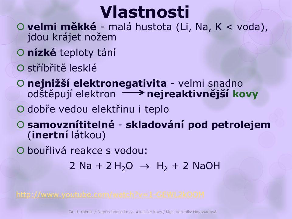 Vlastnosti  velmi měkké - malá hustota (Li, Na, K < voda), jdou krájet nožem  nízké teploty tání  stříbřitě lesklé  nejnižší elektronegativita - velmi snadno odštěpují elektron nejreaktivnější kovy  dobře vedou elektřinu i teplo  samovznítitelné - skladování pod petrolejem (inertní látkou)  bouřlivá reakce s vodou: 2 Na + 2 H 2 O  H 2 + 2 NaOH http://www.youtube.com/watch v=1-GEWL2kOOM ZA, 1.