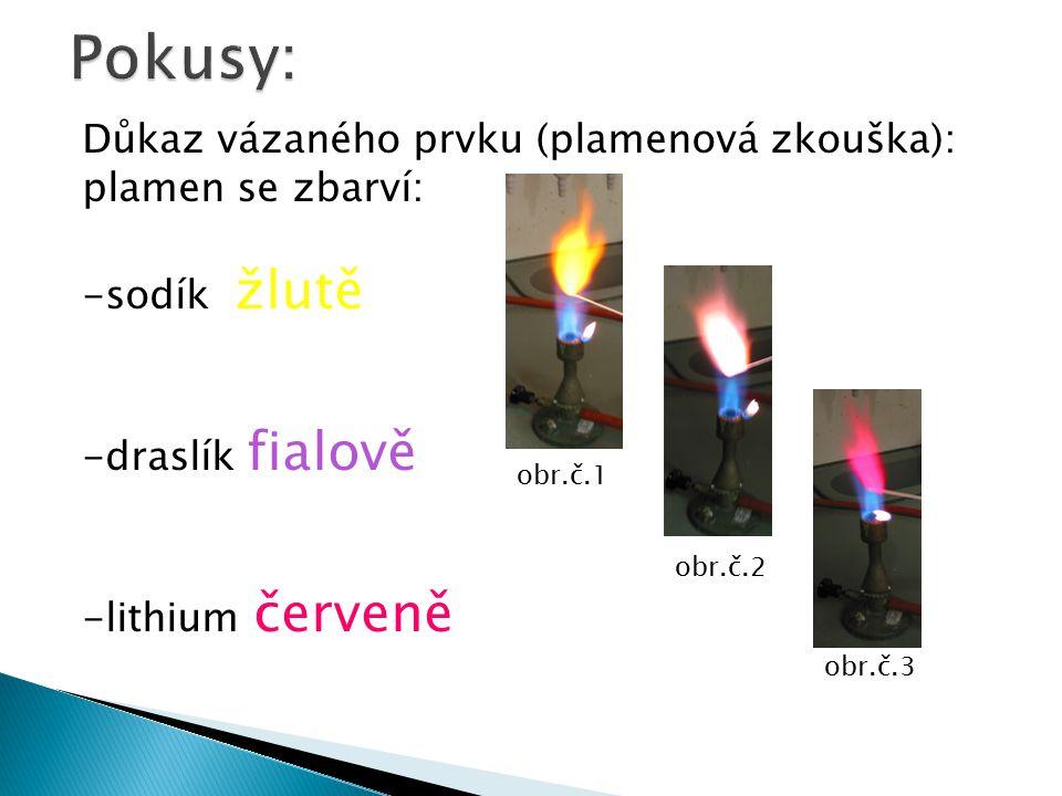 Pokusy: Důkaz vázaného prvku (plamenová zkouška): plamen se zbarví: -sodík žlutě -draslík fialově -lithium červeně obr.č.1 obr.č.2 obr.č.3