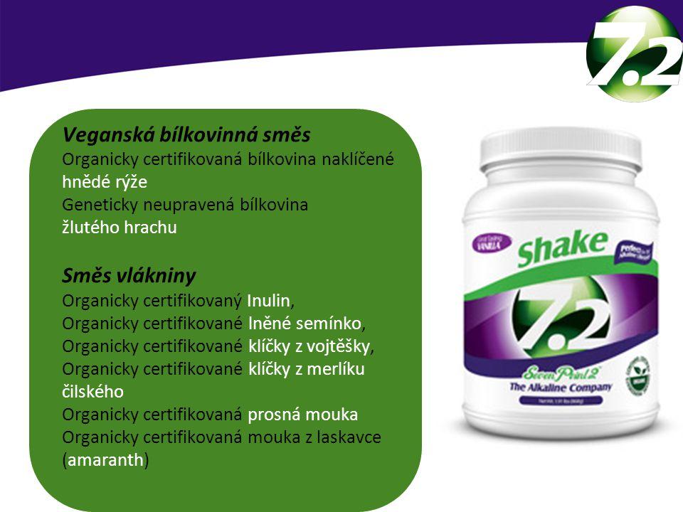 Veganská bílkovinná směs Organicky certifikovaná bílkovina naklíčené hnědé rýže Geneticky neupravená bílkovina žlutého hrachu Směs vlákniny Organicky