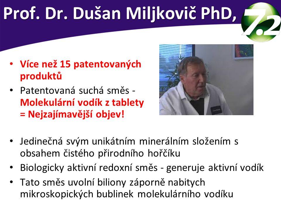 Více než 15 patentovaných produktů Patentovaná suchá směs - Molekulární vodík z tablety = Nejzajímavější objev! Prof. Dr. Dušan Miljkovič PhD, Jedineč
