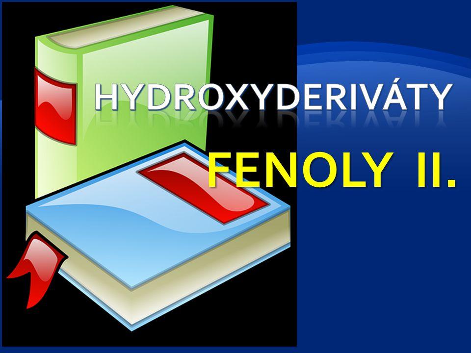 Chemické vlastnosti fenolů - vliv skupiny – OH a benzenového jádra - hydroxyskupina je substituent 1.třídy, aktivuje do o- a p- polohy - jsou silnějšími kyselinami než alkoholy, se zásadami tvoří fenoláty, kyselost se zvyšuje přítomností elektronegativního substituentu –NO 2, -Cl Vznik fenolátů fenolát sodný (natrium-fenolát) 2