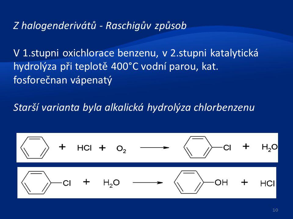 Z halogenderivátů - Raschigův způsob V 1.stupni oxichlorace benzenu, v 2.stupni katalytická hydrolýza při teplotě 400°C vodní parou, kat. fosforečnan