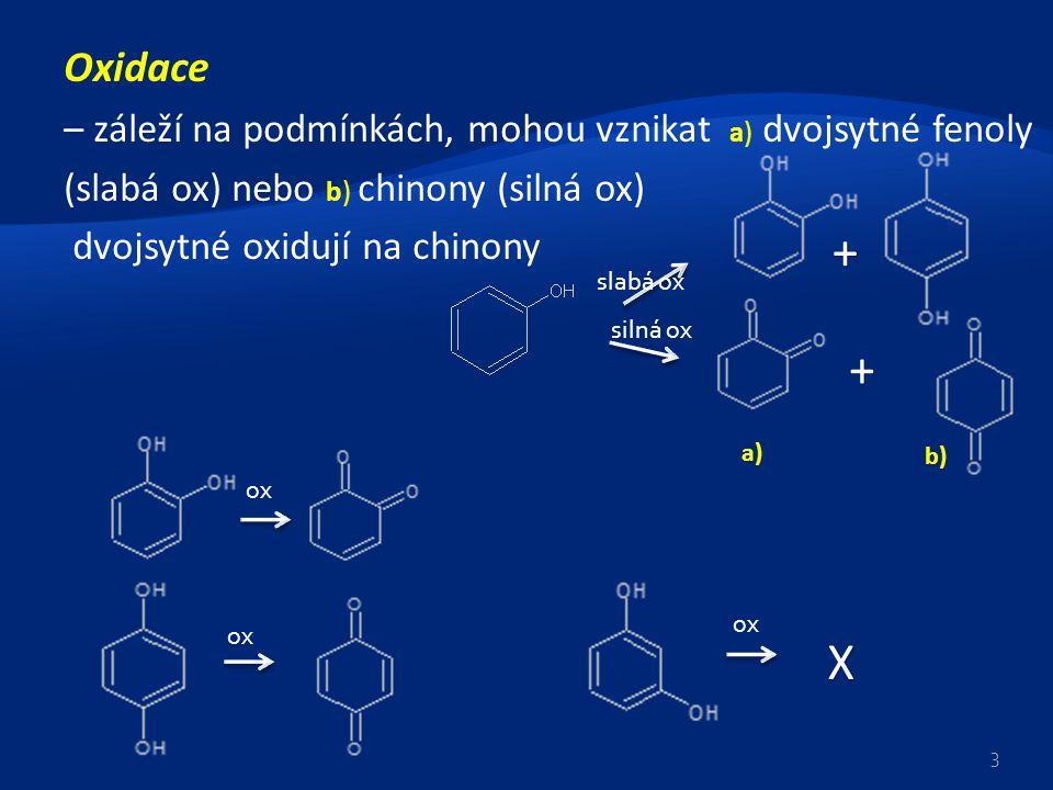 Oxidace – záleží na podmínkách, mohou vznikat a) dvojsytné fenoly (slabá ox) nebo b) chinony (silná ox) dvojsytné oxidují na chinony X + + 3 a) b) ox