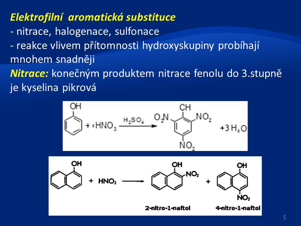 Elektrofilní aromatická substituce - nitrace, halogenace, sulfonace - reakce vlivem přítomnosti hydroxyskupiny probíhají mnohem snadněji Nitrace: kone