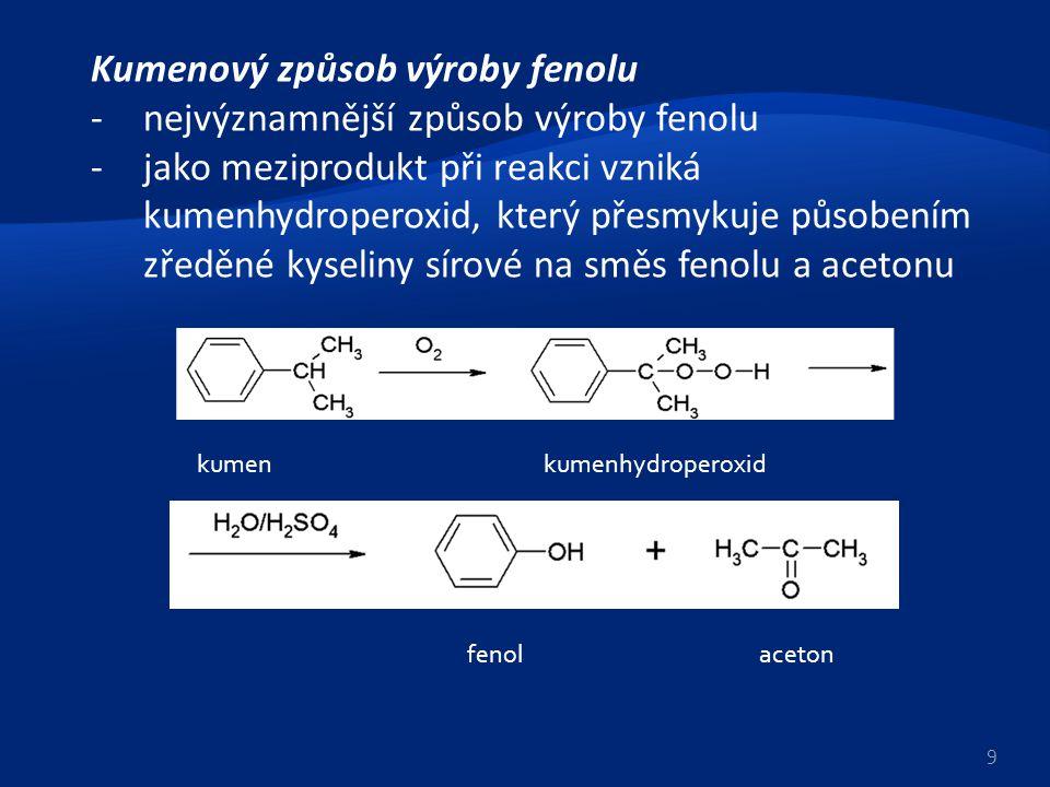 Kumenový způsob výroby fenolu -nejvýznamnější způsob výroby fenolu -jako meziprodukt při reakci vzniká kumenhydroperoxid, který přesmykuje působením z