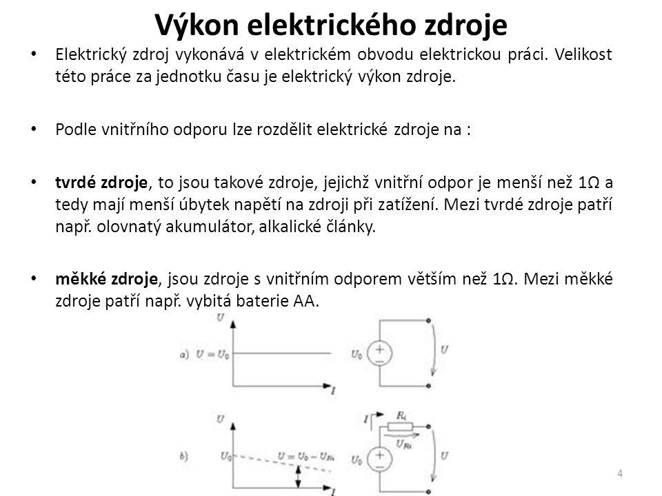 Výkon elektrického zdroje Elektrický zdroj vykonává v elektrickém obvodu elektrickou práci. Velikost této práce za jednotku času je elektrický výkon z