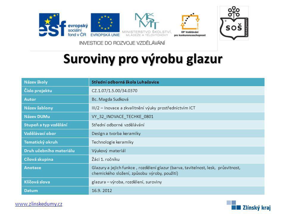 Suroviny pro výrobu glazur www.zlinskedumy.cz Název školyStřední odborná škola Luhačovice Číslo projektuCZ.1.07/1.5.00/34.0370 AutorBc.