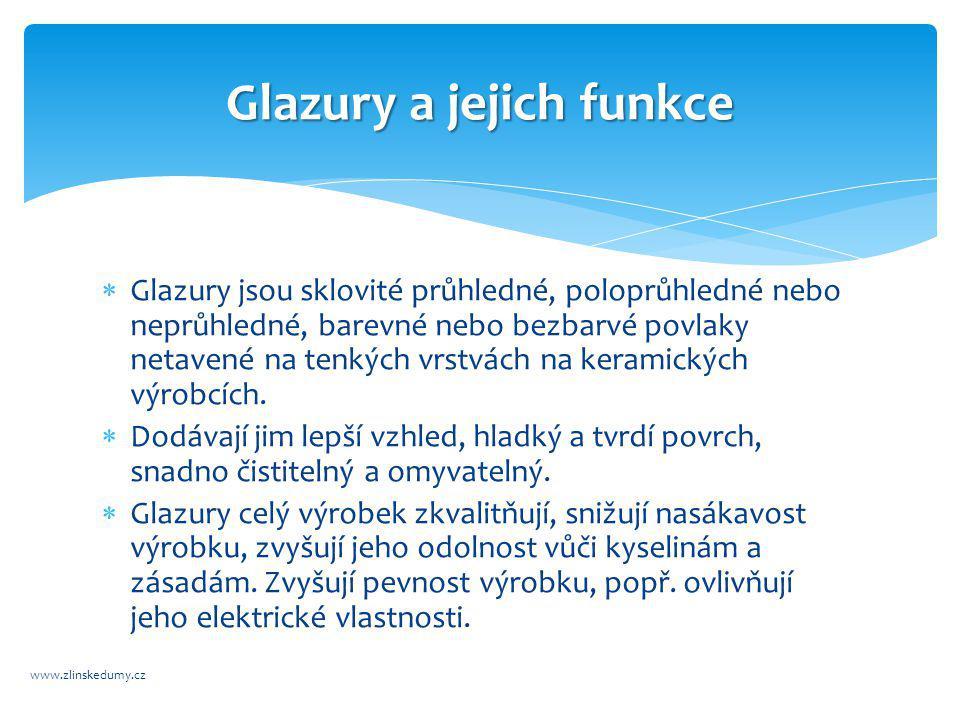 Rozdělení glazur www.zlinskedumy.cz  podle barvy  podle průsvitnosti  podle lesku  podle tavitelnosti  podle chemického složení  podle způsobu výroby  podle použití