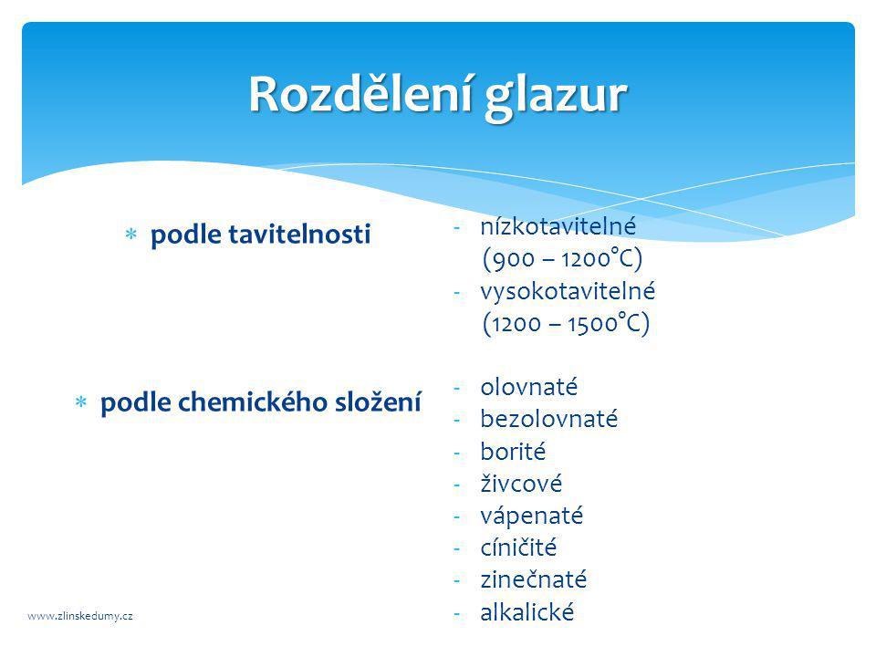 Rozdělení glazur www.zlinskedumy.cz  podle tavitelnosti  podle chemického složení -nízkotavitelné (900 – 1200°C) -vysokotavitelné (1200 – 1500°C) -olovnaté -bezolovnaté -borité -živcové -vápenaté -cíničité -zinečnaté -alkalické