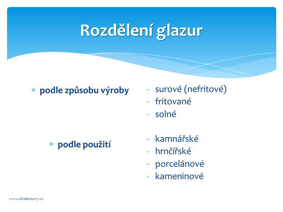 Rozdělení glazur www.zlinskedumy.cz  podle způsobu výroby  podle použití -surové (nefritové) -fritované -solné -kamnářské -hrnčířské -porcelánové -kameninové