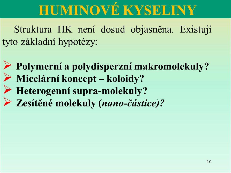 Struktura HK není dosud objasněna. Existují tyto základní hypotézy:  Polymerní a polydisperzní makromolekuly?  Micelární koncept – koloidy?  Hetero