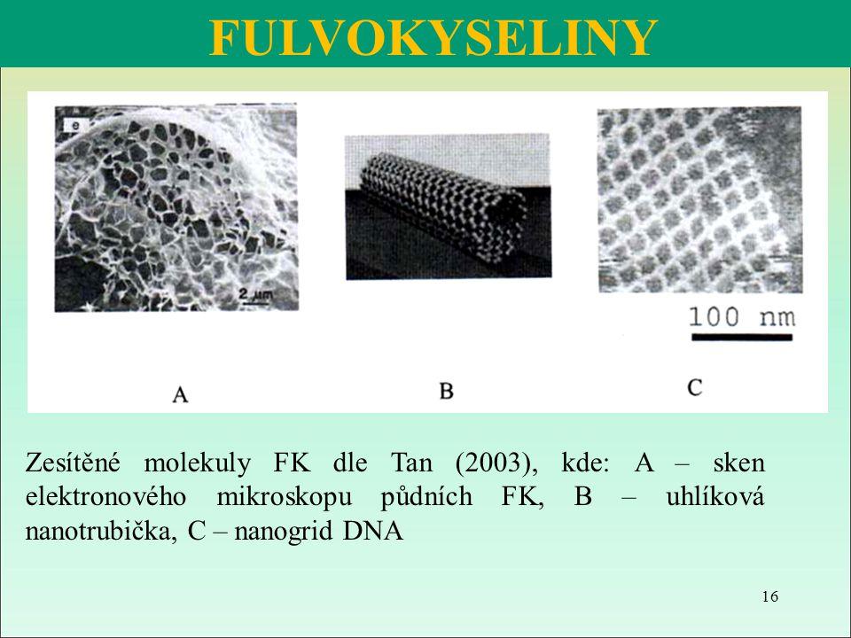 FULVOKYSELINY Zesítěné molekuly FK dle Tan (2003), kde: A – sken elektronového mikroskopu půdních FK, B – uhlíková nanotrubička, C – nanogrid DNA 16