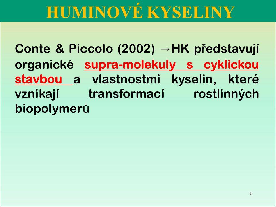 Conte & Piccolo (2002) → HK p ř edstavují organické supra-molekuly s cyklickou stavbou a vlastnostmi kyselin, které vznikají transformací rostlinných