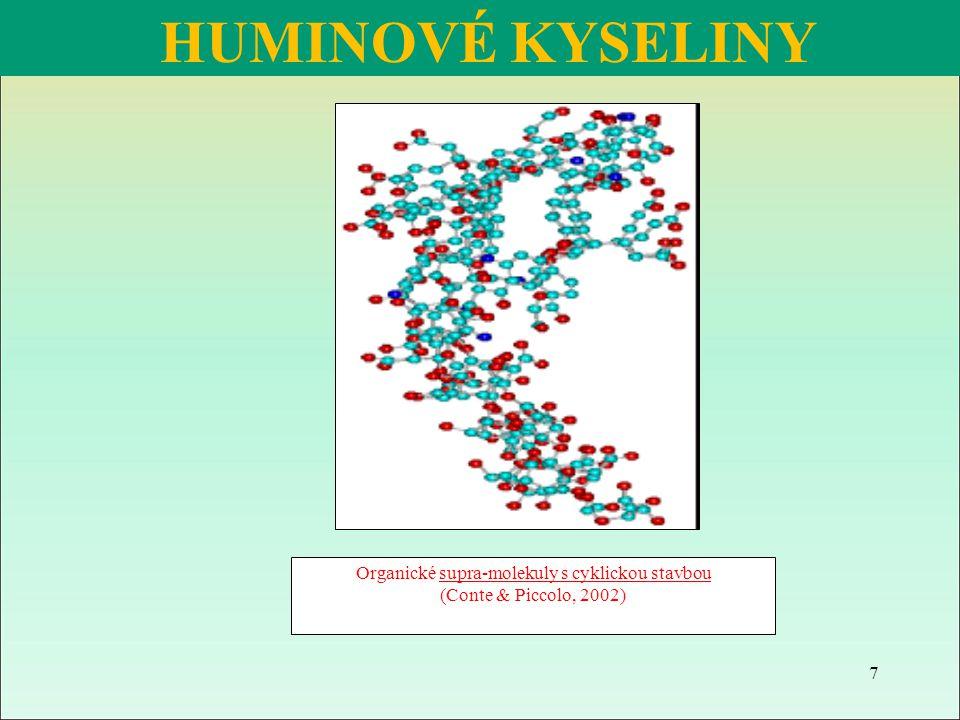 Fulvokyseliny rozpustné ve vodě poutání živin v půdě (KVK až 700 mmol(+)/100 g ) přispívají k rozkladu minerálního podílu půdy Huminové kyseliny poutání živin v půdě (KVK 350 - 500 mmol(+)/100 g ) nejsou agresivní vůči minerálnímu podílu půdy Huminy mají pevnou vazbu s minerálním podílem tmel při tvorbě půdní struktury HUMUSOVÉ LÁTKY http:// af.czu.cz/penizek.přednášky.pdf 18