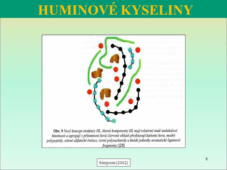 Podle Tan (2003) HK se tvoří samo-organizací, rozměr 1 nm - 1μm (= nano-částice) → různý tvar (sférické, deskové, lístkové, trubičky) → j ako příklad nano-částice uvádí Fulleren – sférickou molekulu uhlíkových atomů HUMINOVÉ KYSELINY Zesíťované molekuly lignitické HK, Sken elektronového mikrografu (www.drkhtan.net16.net, Tan, 2003) 9 Molekula fullerenu (www.google.cz)