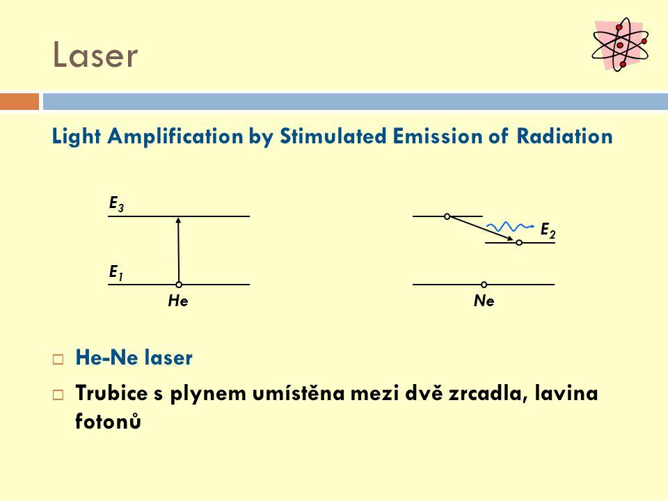 Light Amplification by Stimulated Emission of Radiation  He-Ne laser  Trubice s plynem umístěna mezi dvě zrcadla, lavina fotonů E1E1 E3E3 E2E2 NeHe