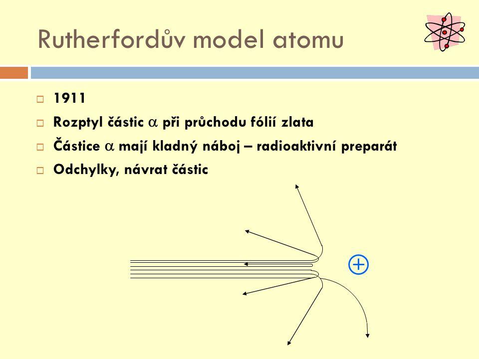 Rutherfordův model atomu  1911  Rozptyl částic  při průchodu fólií zlata  Částice  mají kladný náboj – radioaktivní preparát  Odchylky, návrat částic