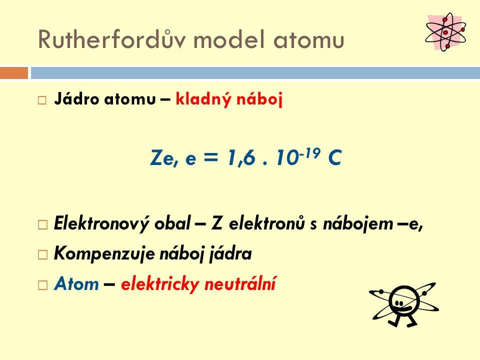 Rutherfordův model atomu  Jádro atomu – kladný náboj Ze, e = 1,6. 10 -19 C  Elektronový obal – Z elektronů s nábojem –e,  Kompenzuje náboj jádra 