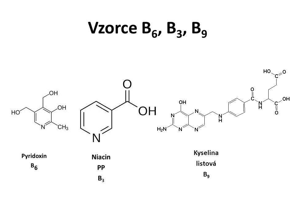 Vzorce B 6, B 3, B 9 Kyselina listová B 9