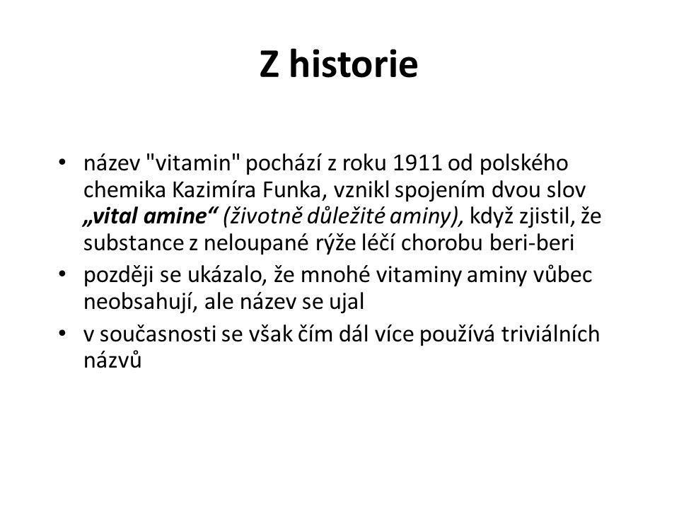 """Z historie název vitamin pochází z roku 1911 od polského chemika Kazimíra Funka, vznikl spojením dvou slov """"vital amine (životně důležité aminy), když zjistil, že substance z neloupané rýže léčí chorobu beri-beri později se ukázalo, že mnohé vitaminy aminy vůbec neobsahují, ale název se ujal v současnosti se však čím dál více používá triviálních názvů"""
