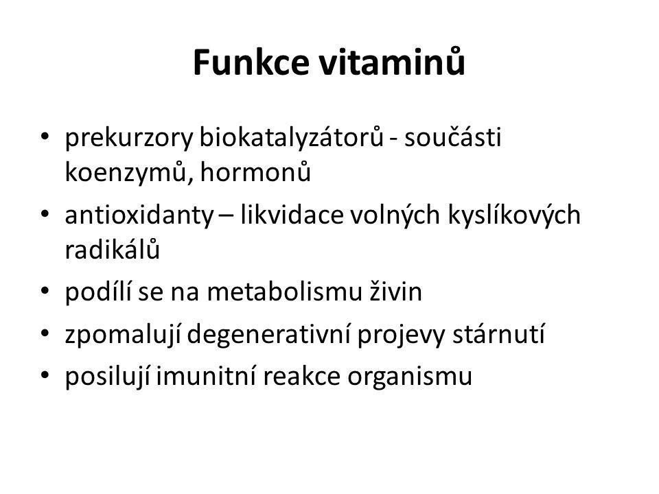 Funkce vitaminů prekurzory biokatalyzátorů - součásti koenzymů, hormonů antioxidanty – likvidace volných kyslíkových radikálů podílí se na metabolismu živin zpomalují degenerativní projevy stárnutí posilují imunitní reakce organismu