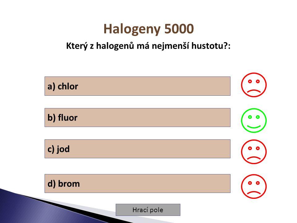 Hrací pole Halogeny 5000 Který z halogenů má nejmenší hustotu?: a) chlor b) fluor c) jod d) brom