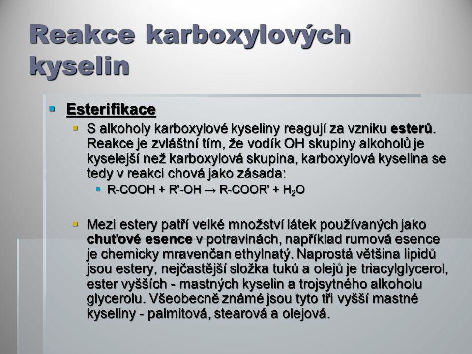 Reakce karboxylových kyselin  Esterifikace  S alkoholy karboxylové kyseliny reagují za vzniku esterů.