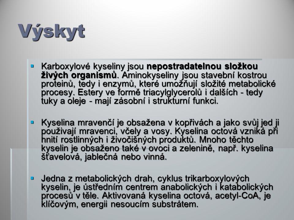 Výskyt  Karboxylové kyseliny jsou nepostradatelnou složkou živých organismů.