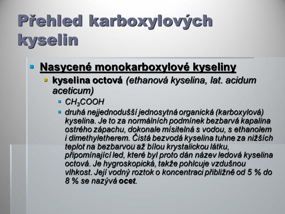 Přehled karboxylových kyselin  Nasycené monokarboxylové kyseliny  kyselina octová (ethanová kyselina, lat. acidum aceticum)  CH 3 COOH  druhá nejj