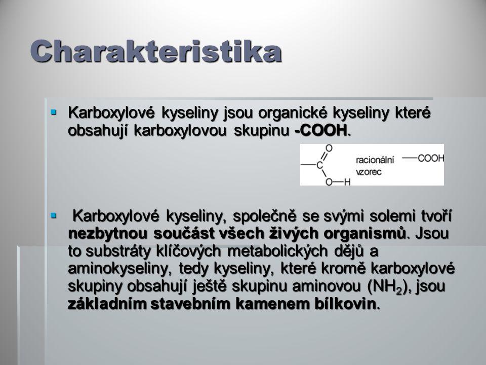 Charakteristika  Karboxylové kyseliny jsou organické kyseliny které obsahují karboxylovou skupinu -COOH.  Karboxylové kyseliny, společně se svými so