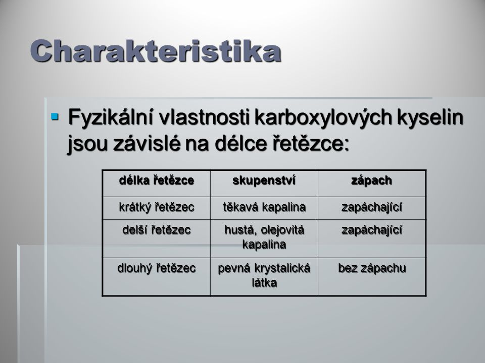 Charakteristika  Fyzikální vlastnosti karboxylových kyselin jsou závislé na délce řetězce: délka řetězce skupenstvízápach krátký řetězec těkavá kapal