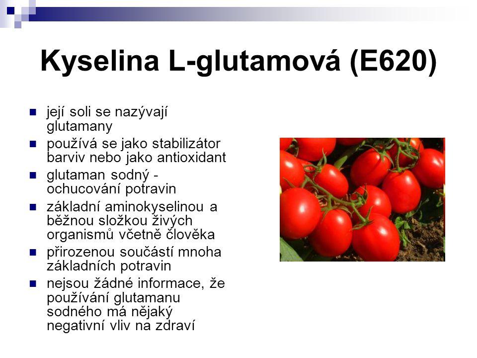 Kyselina L-glutamová (E620) její soli se nazývají glutamany používá se jako stabilizátor barviv nebo jako antioxidant glutaman sodný - ochucování potr
