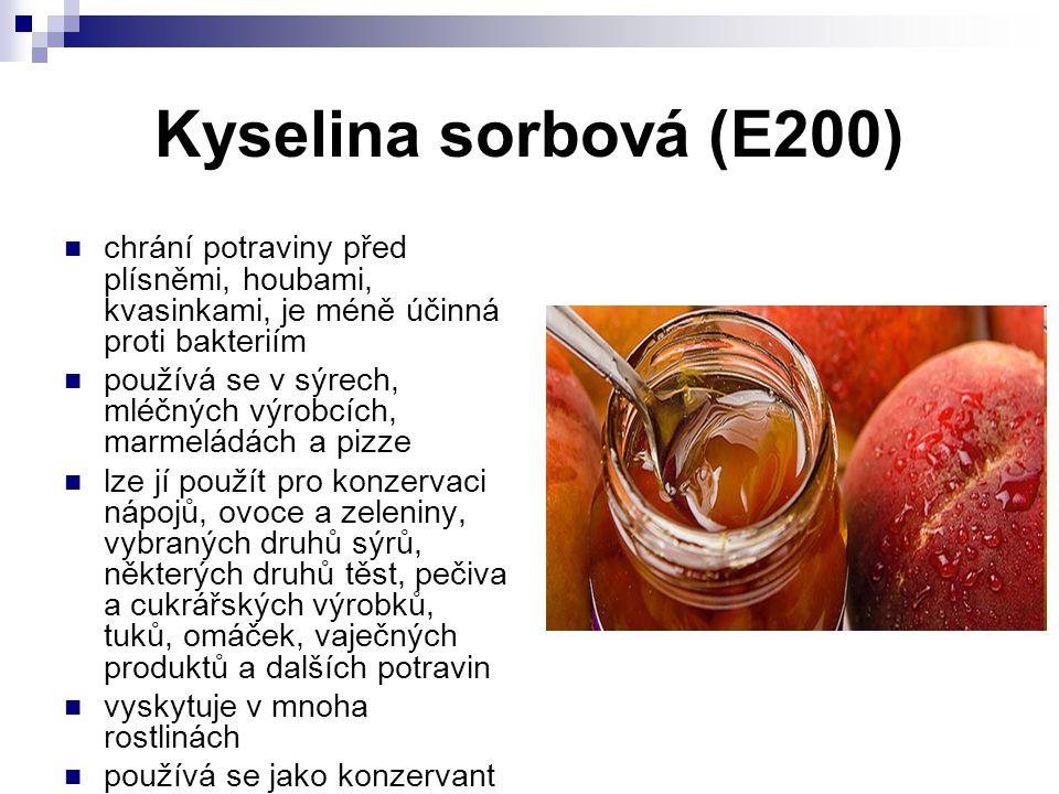Kyselina sorbová (E200) chrání potraviny před plísněmi, houbami, kvasinkami, je méně účinná proti bakteriím používá se v sýrech, mléčných výrobcích, m