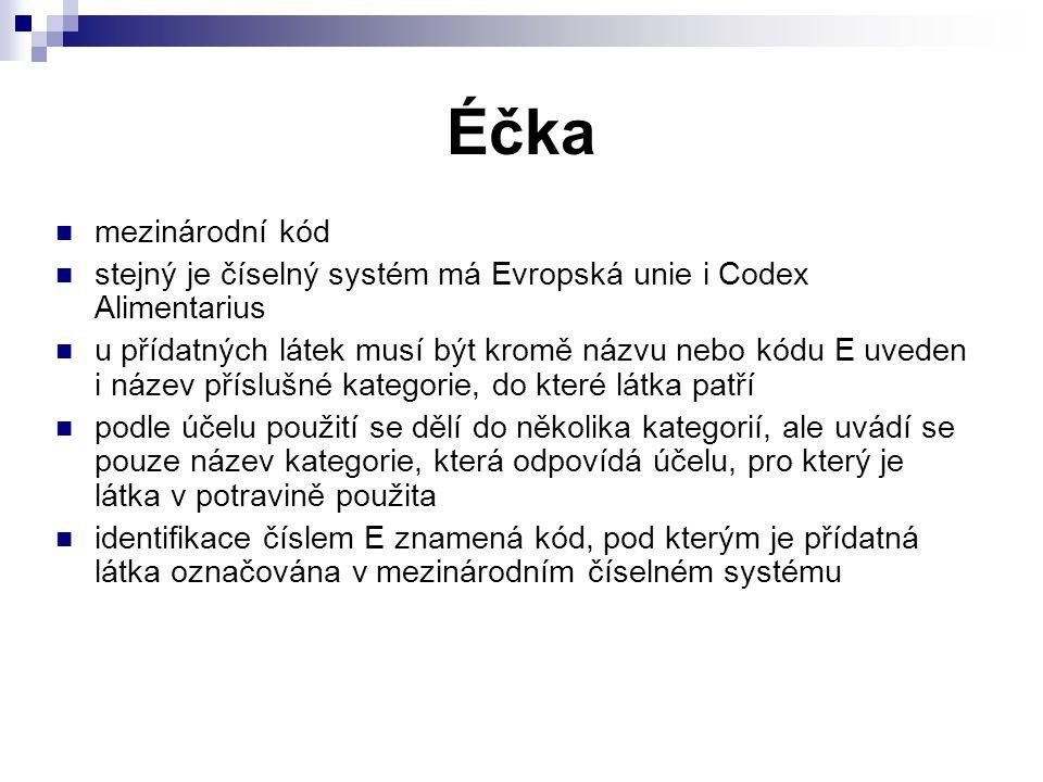 Éčka mezinárodní kód stejný je číselný systém má Evropská unie i Codex Alimentarius u přídatných látek musí být kromě názvu nebo kódu E uveden i název