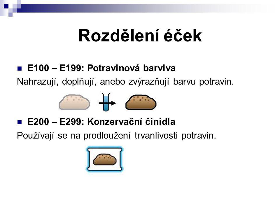 Rozdělení éček E100 – E199: Potravinová barviva Nahrazují, doplňují, anebo zvýrazňují barvu potravin. E200 – E299: Konzervační činidla Používají se na