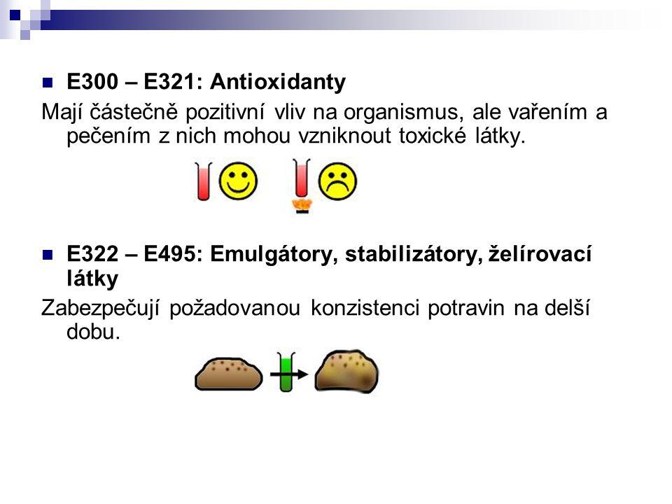 E300 – E321: Antioxidanty Mají částečně pozitivní vliv na organismus, ale vařením a pečením z nich mohou vzniknout toxické látky. E322 – E495: Emulgát