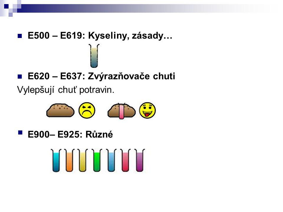 E500 – E619: Kyseliny, zásady… E620 – E637: Zvýrazňovače chuti Vylepšují chuť potravin.  E900– E925: Různé