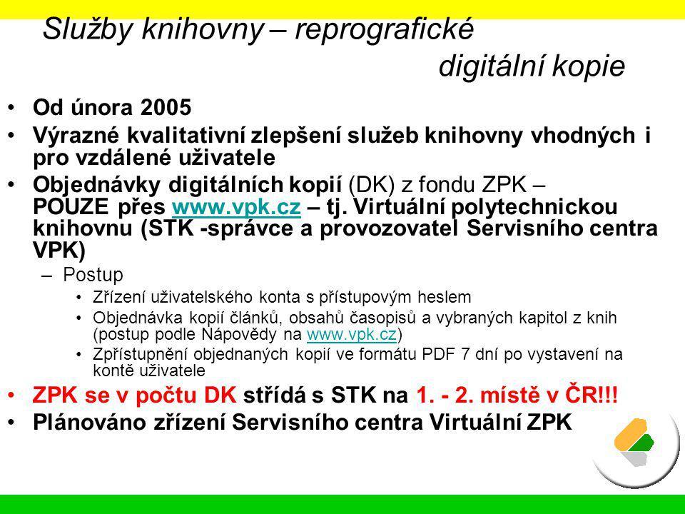 Služby knihovny – reprografické digitální kopie Od února 2005 Výrazné kvalitativní zlepšení služeb knihovny vhodných i pro vzdálené uživatele Objednáv